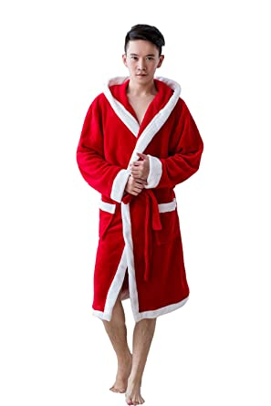 Kika Monkey Dressing Bathrobe Christmas Red Dressing Gown Hooded Men