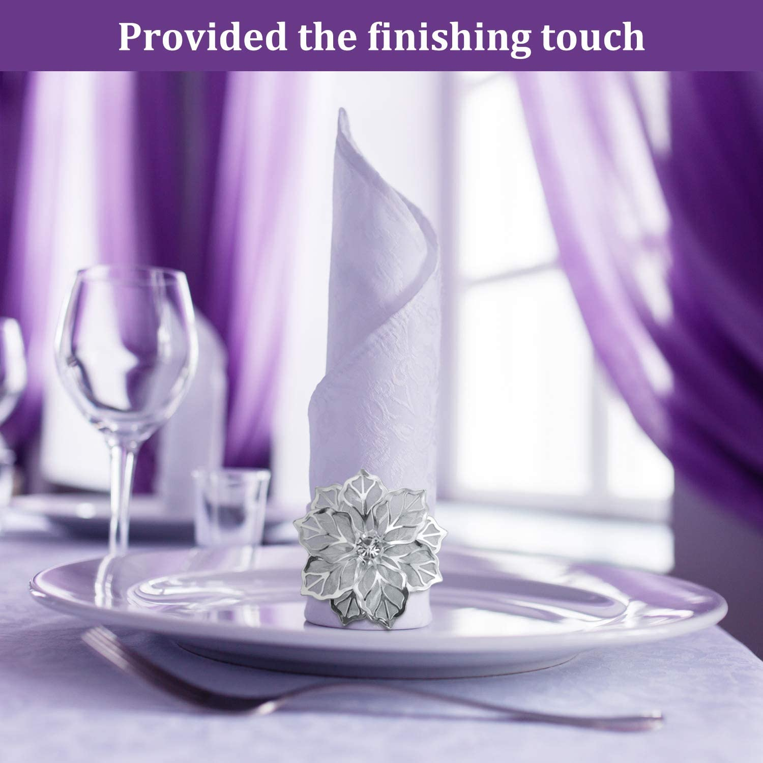Rose Gold 6 Pieces Alloy Napkin Rings with Hollow Flower Napkin Holder Adornment Exquisite Napkins Rings Set Rhinestone Thanksgiving Napkin Rings for Wedding Banquet Christmas Dinner Decor Favor