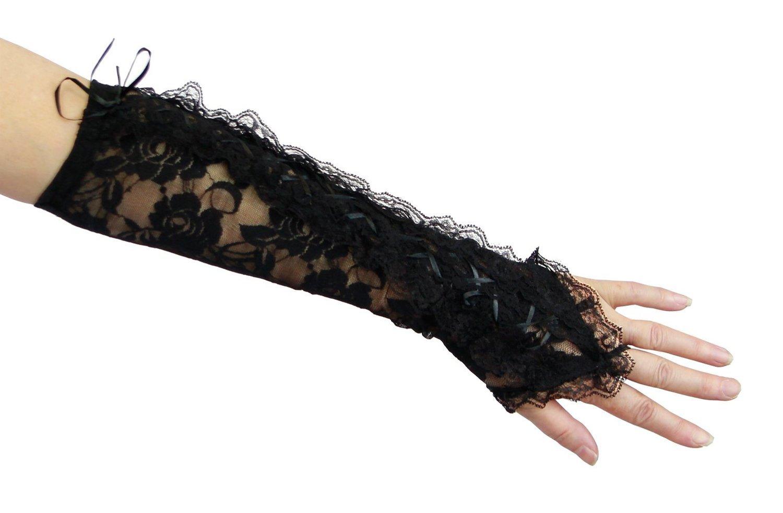 Bestmall®Fashion Black Long Fingerless Lolita rose Lace Up bandage Gloves
