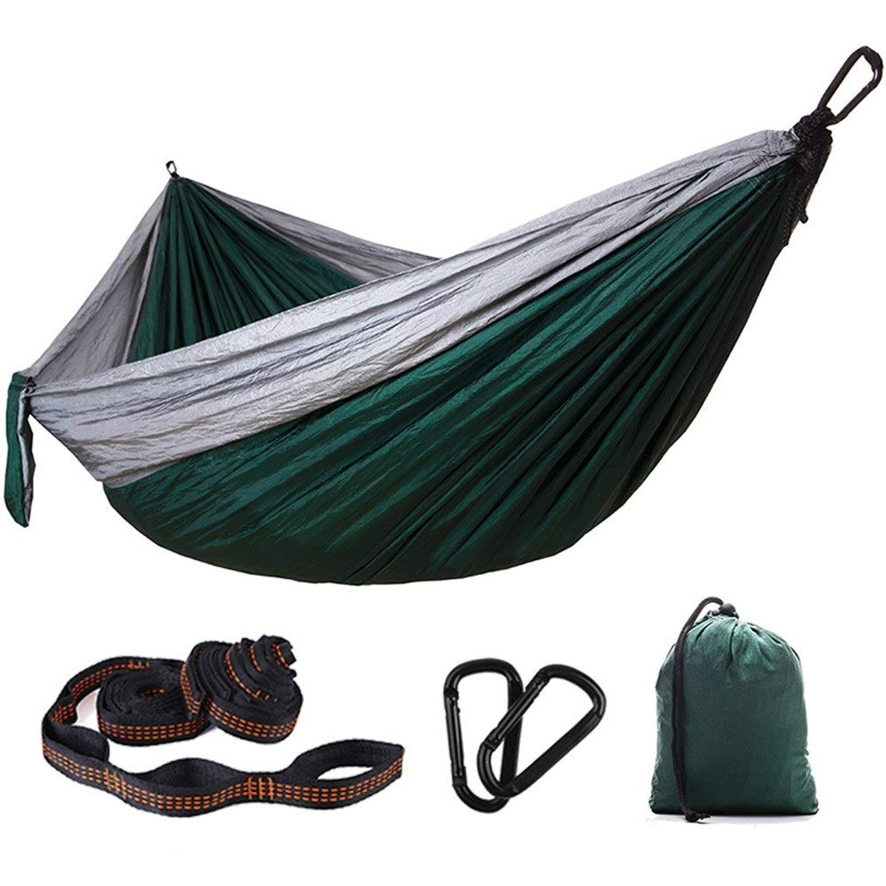 Jx Ultralight Travel Camping Hammock 300kg Carrying Capacity Nylon Outdoor Double Swing Chair Parachute Cloth Dormitory Hammock (Color : Gray and Dark Green) by Jx