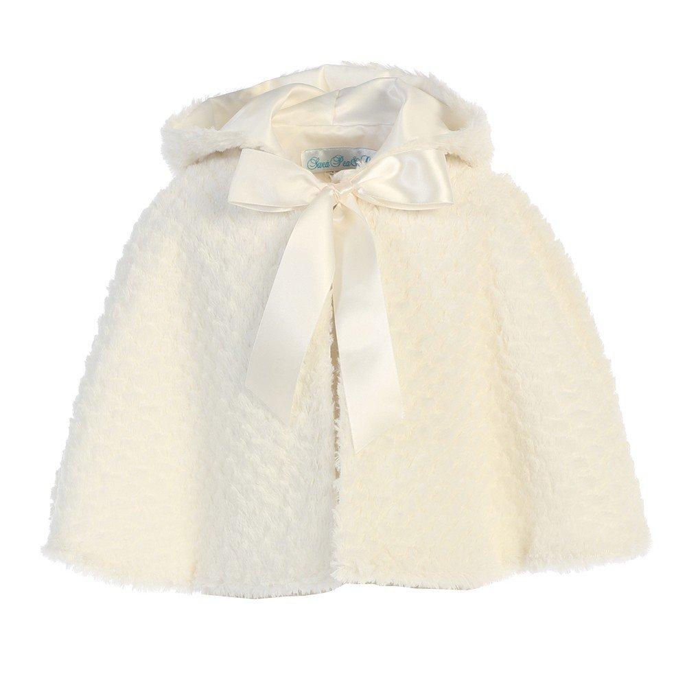Swea Pea & Lilli Lito Little Girls Ivory Ribbon Accent Hooded Swirl Texture Faux Fur Cape 2T-6