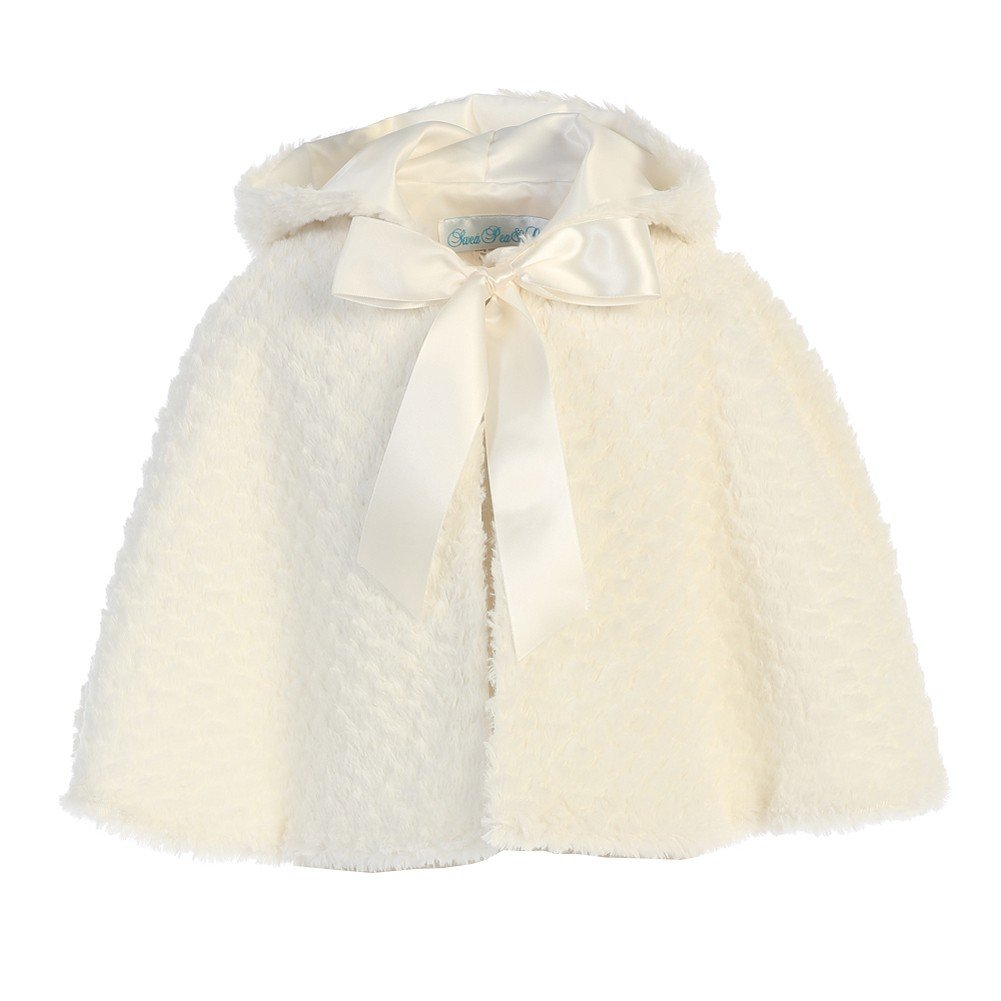 Lito Big Girls Ivory Ribbon Accent Hooded Swirl Texture Faux Fur Cape 10