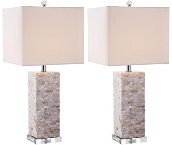 Safavieh Lighting Collection Homer Ivory Shell 25.5 Inch Table Lamp (Set Of  2)