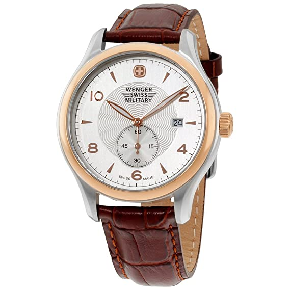 código promocional 1b470 f37ca Wenger Silver Dial Leather Strap Men's Watch 79313C