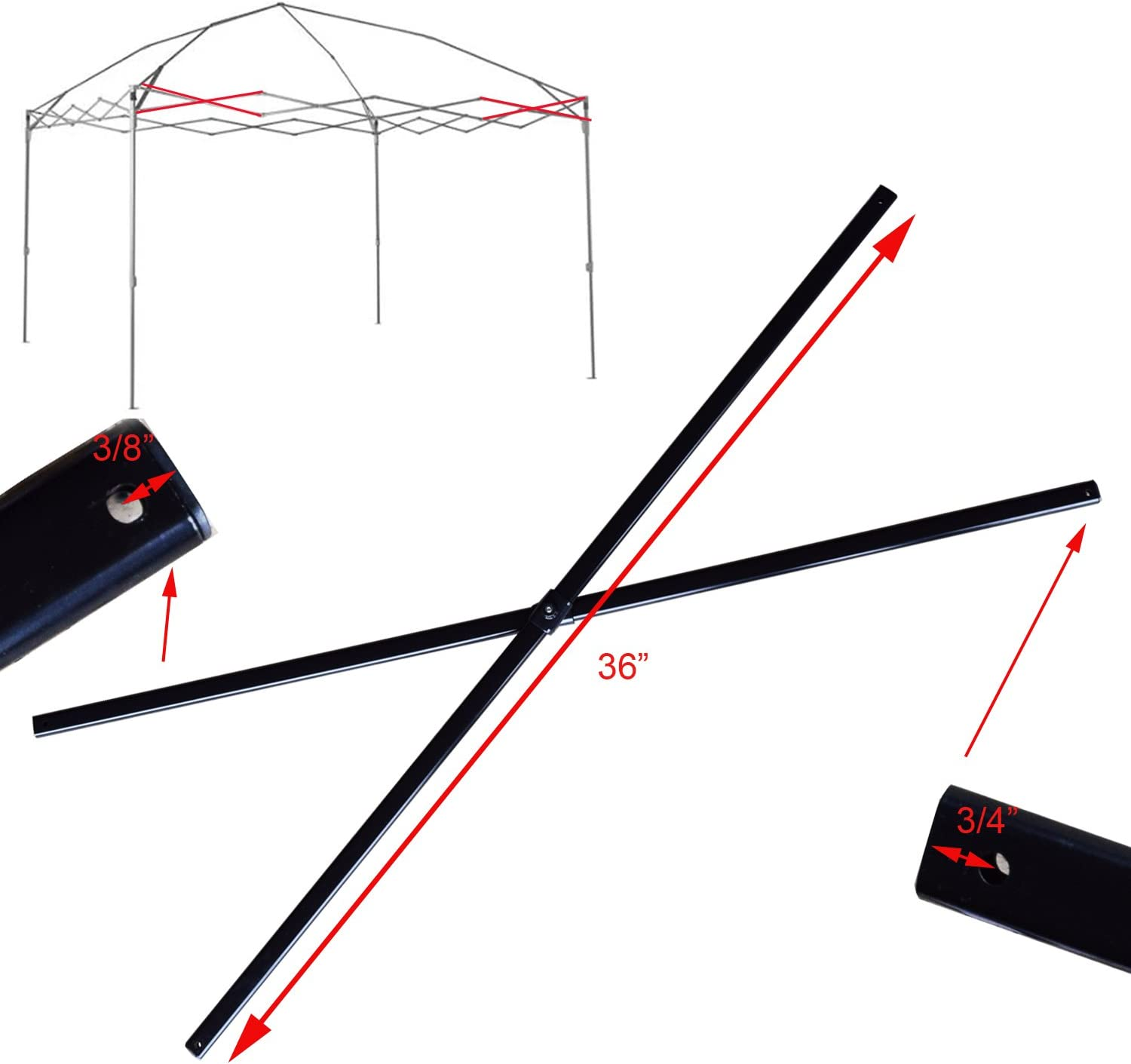 Black for Coleman 12 x 12 Canopy Gazebo Old Style Side Truss Bar 36 Replacement Parts Repair