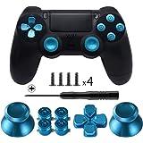 Tomsin メタル ボタン デュアル ショック 4用 アルミ メタル サムスティック アナログ グリップ & 銃弾 ボタン & Dパッド PS4コントローラ用 ブルー
