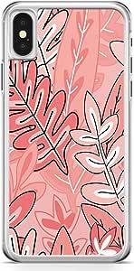 iPhone X Transparent Edge Phone Case Jungle Phone Case Pattern Pink Tone Leafy Phone Case Leaf iPhone X Cover with Transparent Frame
