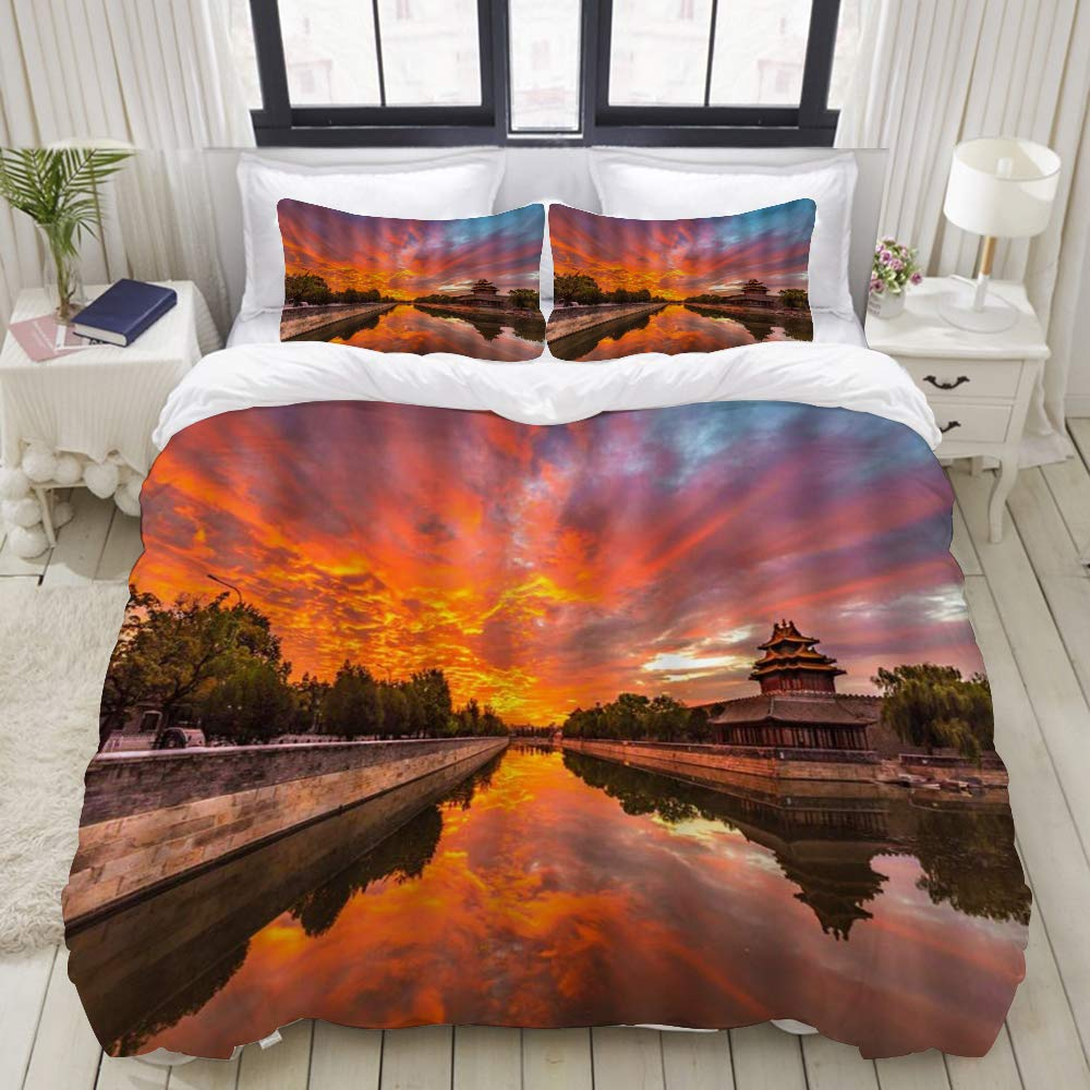 "LIASDIVA Duvet Cover,Ancient City Landscape Sunset Canal Chinese Building Forbidden City,Bedding Set Ultra Comfy Lightweight Luxury Microfiber Sets (3pcs King Size 104"" 88"")"