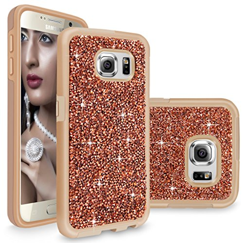 S6 Case, Galaxy S6 case, Cellularvilla [Slim Fit] [Hybrid] Luxury Bling Jewel Rock Crystal Rhinestone Diamond Case [Shockproof] Dual Layer Protective Cover for Samsung Galaxy S6 (Rose Gold) -