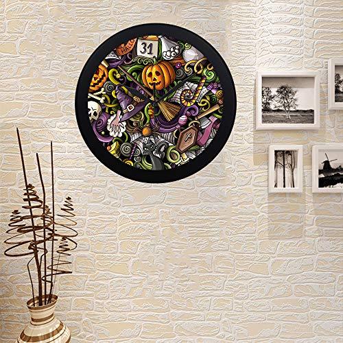 COLORSFORU Custom Cartoon Cute Doodles Halloween Elegant Black Silver Wall Clock Decor for Office Home Living -