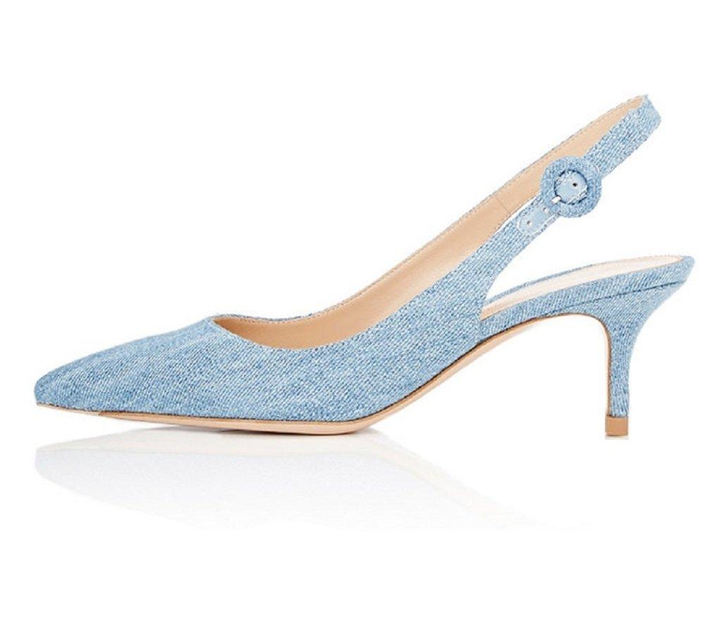 EDEFS Damen Kitten-Heel Slingback Pumps Spitze 6.5cm Mittlerer Absatz Pointed Toe Schuhe  39 EU|Denim