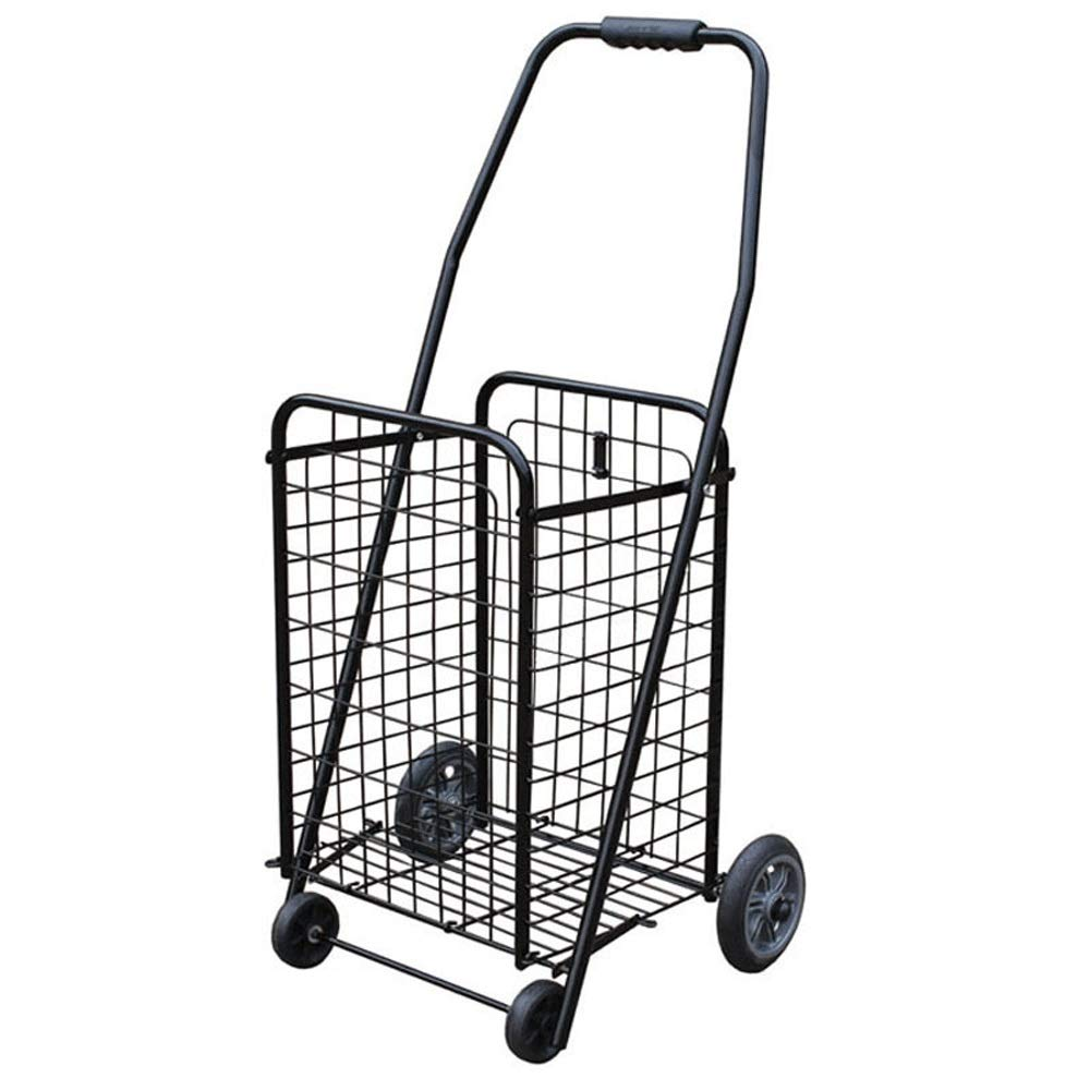 Folding Shopping cart for The Elderly, Hand cart, Luggage cart, Trolley, Black Trolley, M, L (Size : L)