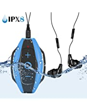 AGPTEK Waterproof MP3 Player for Swimming Surfing Water Sports, Underwater IPX8 Swimming MP3 Player Music Players with Clip, Waterproof Headphones and Armband Included