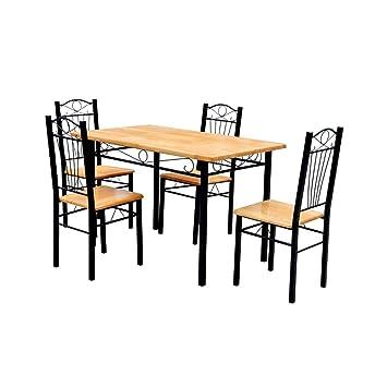En Métal Set Vidaxl Chaises De Brun Clair 1 Table Bois 4 xrdCshtQ