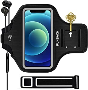 RUNBACH Armband for iPhone 12 Mini/iPhone 11 Pro/iPhone X/XS,Sweatproof Running Exercise Gym Bag with Card Slot for iPhone 11 Pro/12 Mini/X/XS(Black)