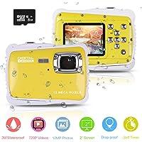 """Cámara Impermeable para niños, Digital Mini Cámara con Zoom Digital de 8X / 12MP / 2"""" TFT LCD/8 GB Micro SD, cámara Infantil Impermeable 3m"""