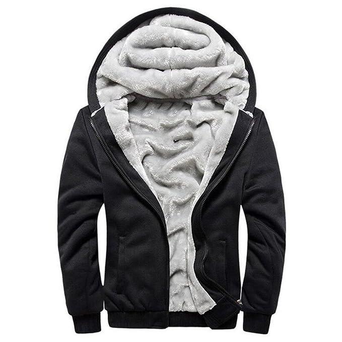 7fb91c1ae2c MANLUODANNI Men s Sport Suit Hooded Coat Fleece Tracksuit Jacket Black M