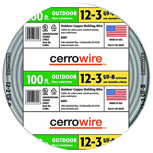 Cerro 138-1603CR 100-Feet 12/3 UF with Ground Wire, (Gray Ground Cable Wire)