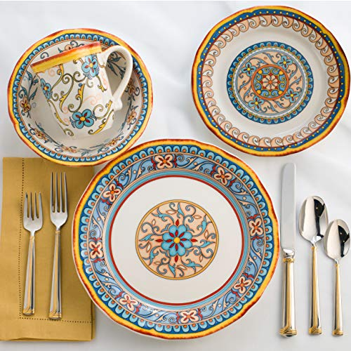 - Euro Ceramica Duomo Collection Italian-Inspired 16 Piece Ceramic Dinnerware Set, Floral Design, Multicolor