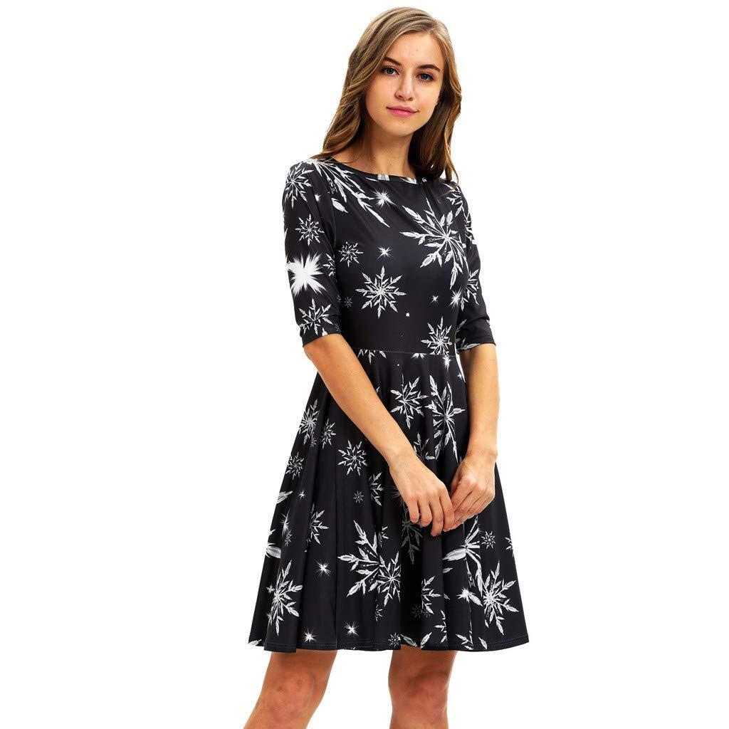 RINKOUa Christmas Dress for Women, Women Fashion Mom Me Long Sleeve 3D Print Christmas Xmas Dress ClothesChristmas Dresses Black by RINKOUa