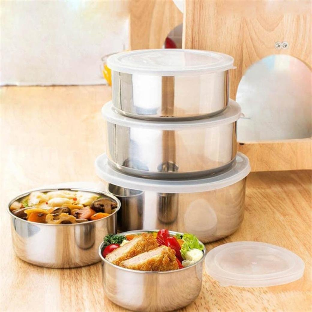 Vovomay 5 Pcs Stainless Steel Home Kitchen Food Container Storage Mixing Bowl Set