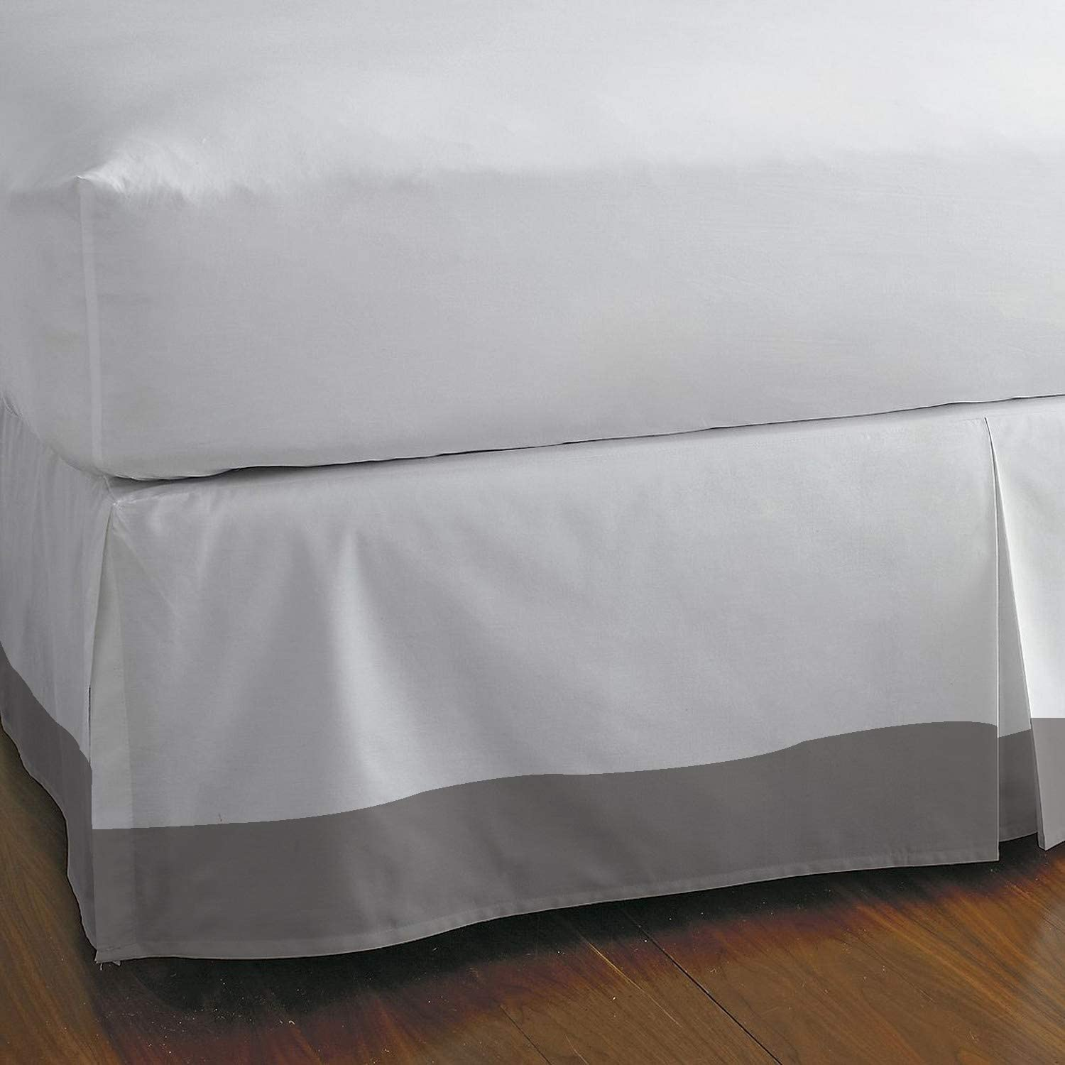 Queen, Grey 100/% Long Staple Cotton Pleated Split Cornor Bed Skirt Unique Beddings Egyptian Cotton Bed-Skirt Style : Solid with 8 Inch Drop Length