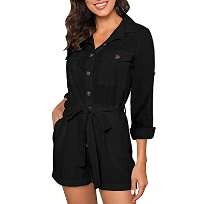 Vetinee Womens Summer Pocket Belted Romper Button Short Sleeve Jumpsuit Playsuit: Clothing