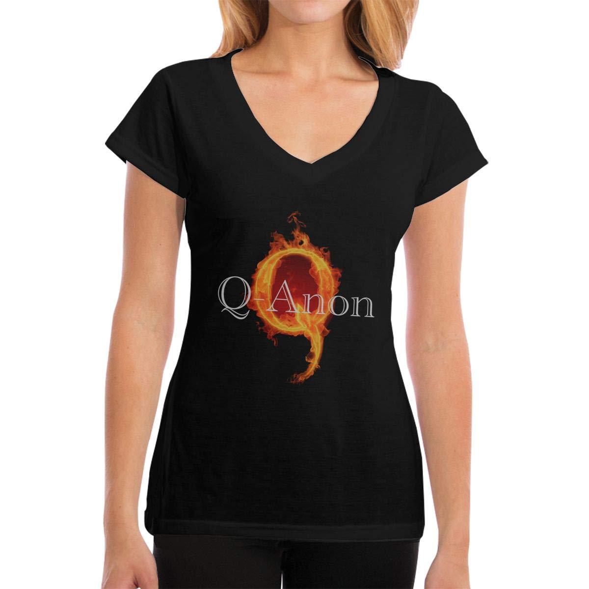 NaohBent QANON Trust The Plan Womans V Collar T-Shirts Black