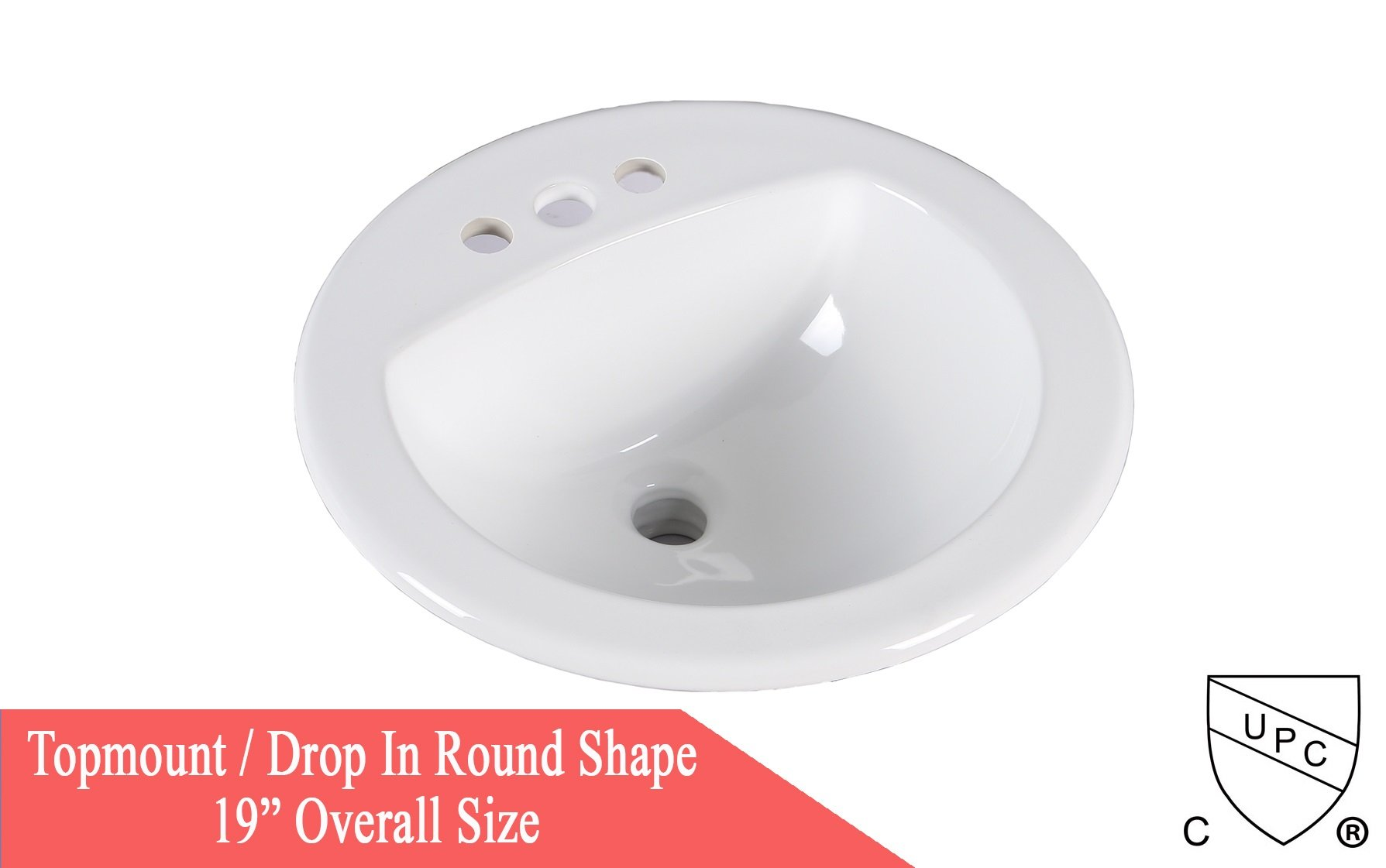KINGSMAN 19 Inch Round Topmount / Self Rimming / Drop In Vitreous Ceramic Lavatory Vanity Bathroom Sink Pure White by KINGSMAN