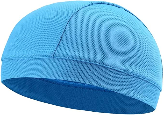 Moisture cooling light blue hot weather beanie for outdoor activities and sports