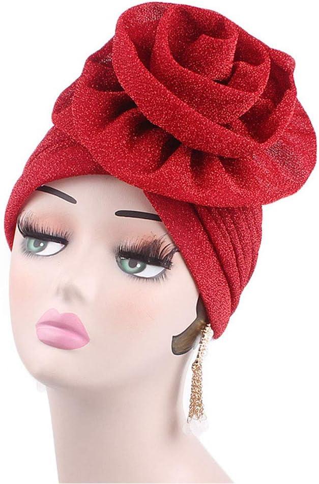 dise/ño de Flores Rosa SYN Gorro de quimioterapia para Mujer Gorro Turbante s/ólido Accesorios de Purpurina el/ástico para p/érdida de Cabello para c/áncer Elegante Tama/ño Libre Casual