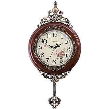 Hense Antiguo Retro Relojes de madera decorativa Ultra Mute Silent mecanismo de reloj de cuarzo de