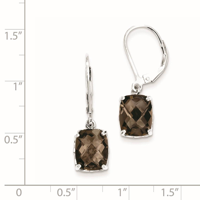 925 Sterling Silver Rhodium-plated Smoky Quartz Dangle Earrings