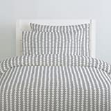 Carousel Designs Silver Gray and White Arrow Stripe Duvet Cover Twin Size - Organic 100% Cotton Duvet Cover - Made in The USA
