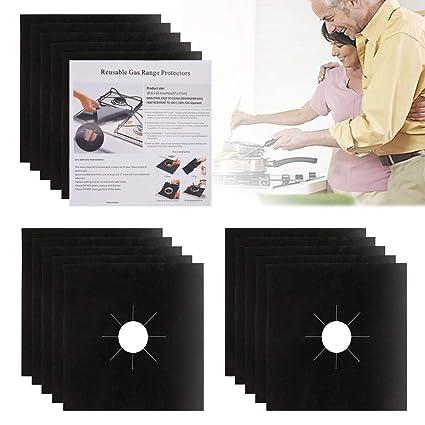 HOSTK 16 Pack Gas Range Protectors Estufas de quemadores de Estufa Guardias de hornos para Cocina y Cocina Grosor Doble Reutilizable 0.2mm, fácil de ...