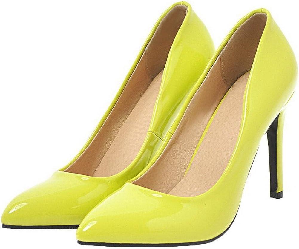 AalarDom Femme Verni à Talon Haut Couleur Unie Tire Chaussures Légeres Jaune