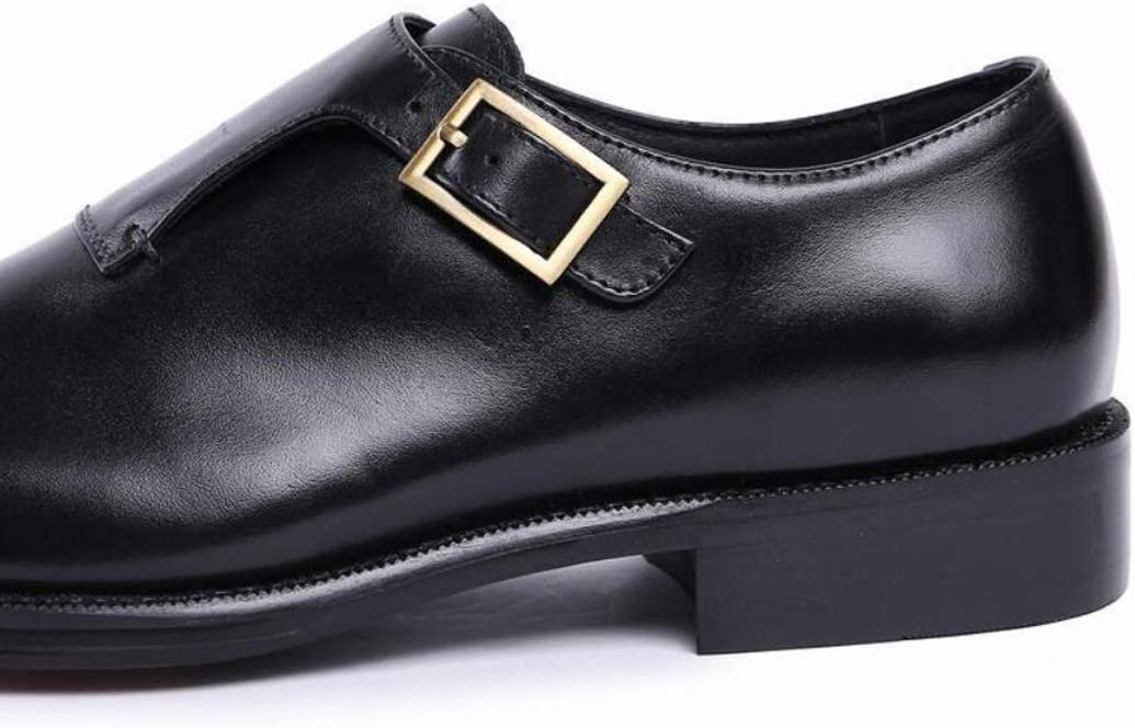 Zaqxs Mens Double Monk Strap Shoe Cap Toe Buckle Slip On Loafer Leather Comfortable Formal Business Dress Shoe for Men Color : Black, Size : 39 EU