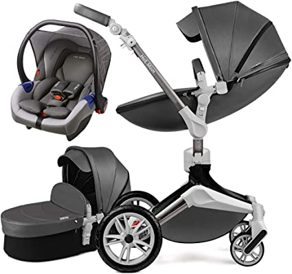 Hot Mom 3-1 Poussette combinée 2020 nouvelle Poussette rotative 360 Haute paysage attaches en cuir PU suspension roues en PU siège bébé supplémentaire achetable-Gris Foncé