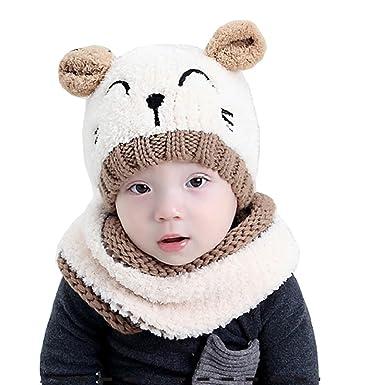 df0a59443f4b Tuopuda® Chapeau Bonnet Enfant Hiver Bébé Fille garçon Ensemble Bonnet  Echarpe Chaudes Bonnet tricoté (