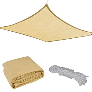 18x18' Square Sun Shade Sail Patio Deck Beach Garden Outdoor Canopy Cover Uv Blocking (Desert Sand)