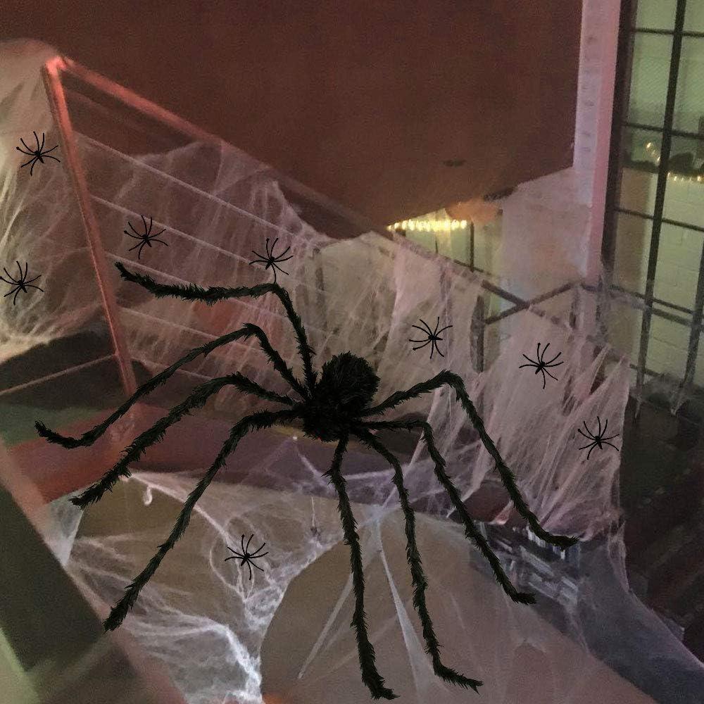 Keyohome Halloween d/écoration Toile araign/ée Effrayant,Accessoires Halloween Effrayant cadavre Nu et araign/ée pour Halloween f/ête 7m Toile daraign/ée en Forme d/éventail