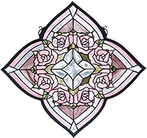 Meyda Tiffany 72642 Ring of Roses Stained Glass Window, 20 W x 20 H