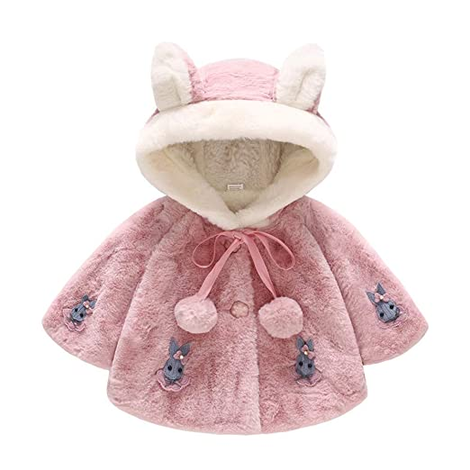Amazon.com: AMSKY Toddler Baby Girl Cute Rabbit Ear Hooded Outwear ...