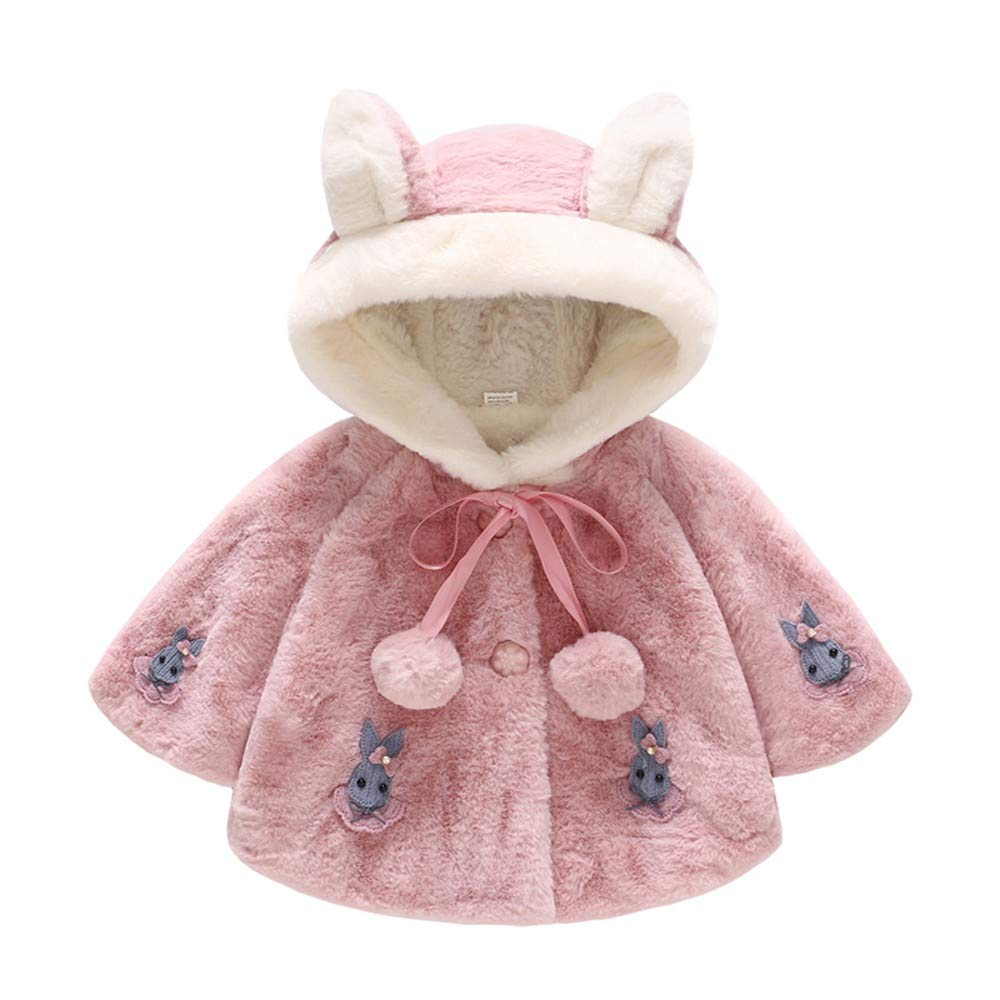 Cute Baby Girl Clothes,Infant Kids Baby Grils Long Sleeve Rabbit Hooded Coat Tops Warm Outwear,Hot Pink,XL
