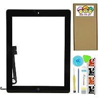 XIAO MO GU Komplett Touch Screen Digitizer für iPad 4 schwarz Kit Vormontierte Glass + Home-Taste + Home Flex und beiliegende Kontur (Modell A1458, A1459, A1460)