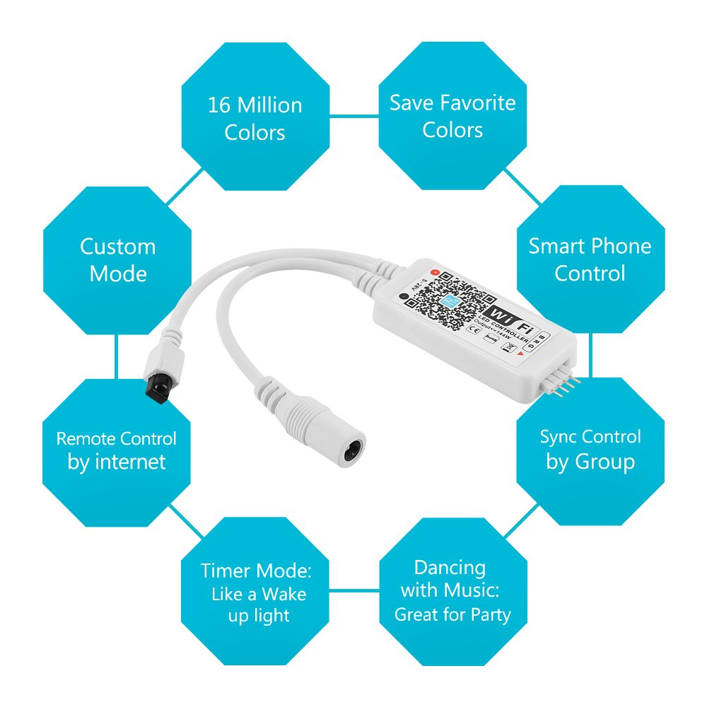 Nexlux WiFi Wireless LED Smart Controller Alexa Google Home IFTTT Compatible,Working with Android,iOS System, GRB,BGR, RGB LED Strip Lights DC 12V 24V(No Power Adapter Included) by Nexlux (Image #1)