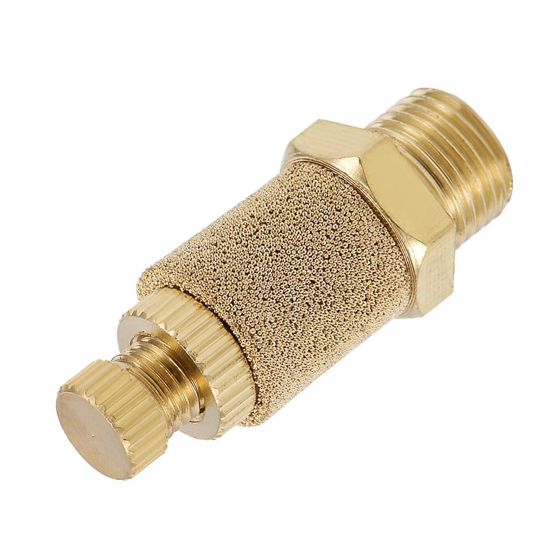uxcell Top Adjustable Pneumatic Air Exhaust Silencer Muffler Copper 1//8 BSPT Gold Tone 2pcs