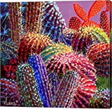 Barrel Cactus 4 by Sharon Weiser Canvas Art Wall Picture, Gallery Wrap, 12 x 12 inches
