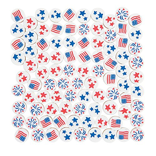 Fun Express - Patriotic Polymer Beads for Fourth of July - Craft Supplies - Adult Beading - Misc Adult Beading - Fourth of July - 100 -