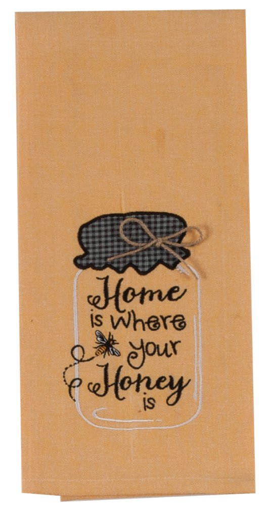 Kay Dee Designs Embroidered Cotton Tea Towel, 18 by 28-Inch, Honey
